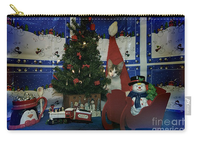 Kitty Carry-all Pouch featuring the photograph Kitty Says Merry Xmas by Thomas Woolworth