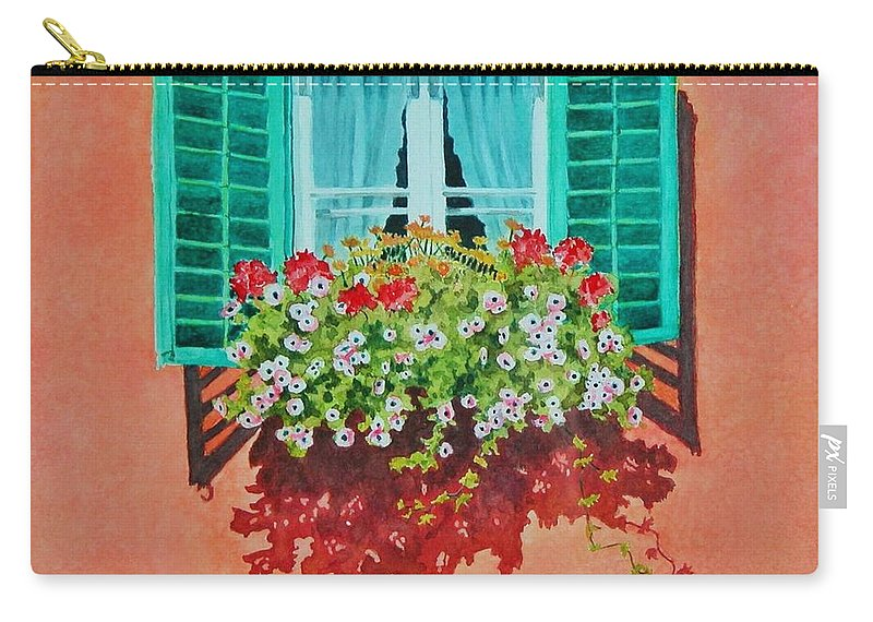 Window Box Carry-all Pouch featuring the painting Kitzbuhel Window by Mary Ellen Mueller Legault