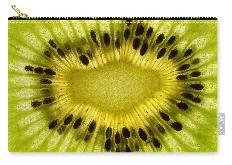 Kiwi Carry-all Pouch featuring the photograph Kiwi Fruit Macro 2 by John Brueske