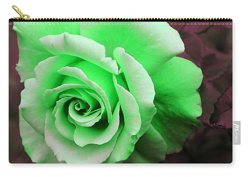 Kiwi Lime Rose Carry-all Pouch featuring the photograph Kiwi Lime Rose by Barbara Griffin