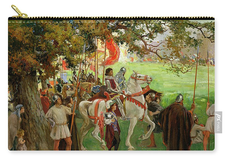 Jousting Carry-all Pouch featuring the painting Knights Assembling, From Sir Nigel by George Edmund Butler