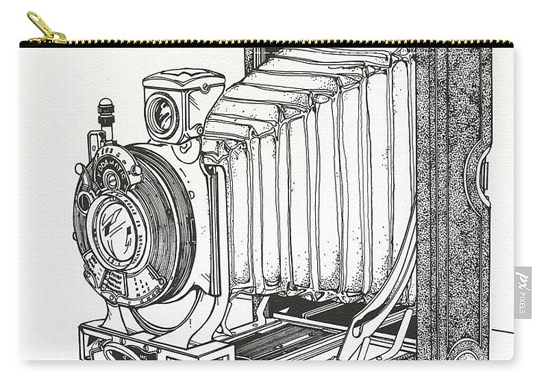 Kodak Carry-all Pouch featuring the drawing Kodak 3a Autographic by Ira Shander