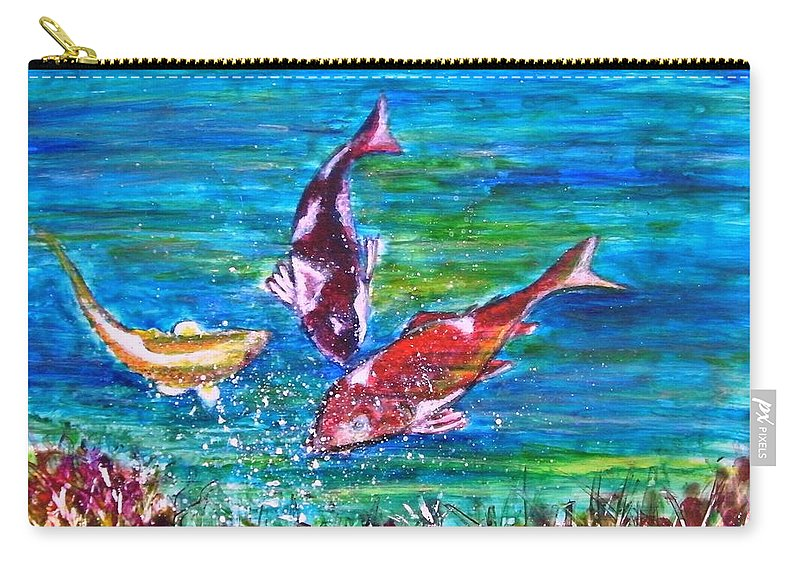 Fish Koi Bubbles Underwater Grass Landscape Yupo Paper Blue Red Yellow Abstract Green Feng Carry-all Pouch featuring the painting Koi and Joy Fish by Manjiri Kanvinde