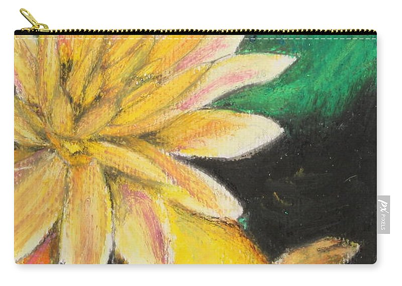 Japanese Carry-all Pouch featuring the painting Koi And The Lotus Flower by Jeanne Fischer