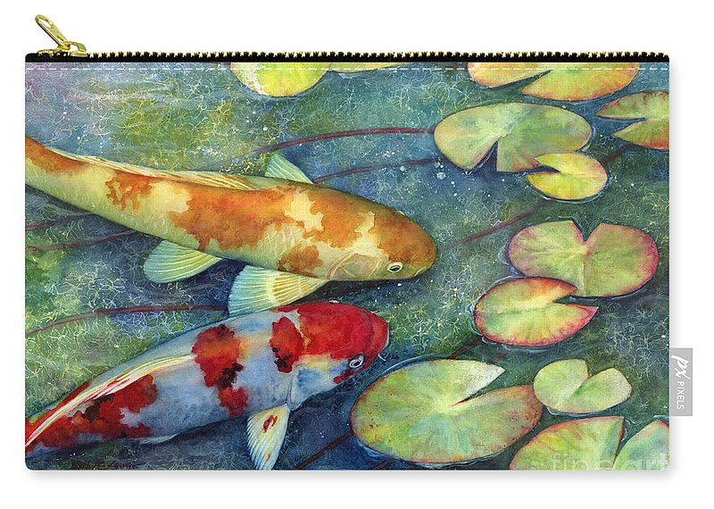Koi Carry-all Pouch featuring the painting Koi Garden by Hailey E Herrera