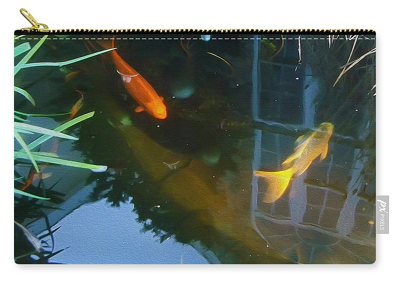 2d Carry-all Pouch featuring the mixed media Koi - Oil Painting Effect by Brian Wallace