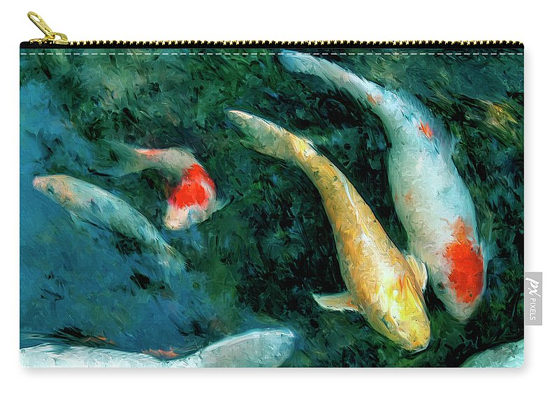Koi Carry-all Pouch featuring the painting Koi Pond 2 by Dominic Piperata
