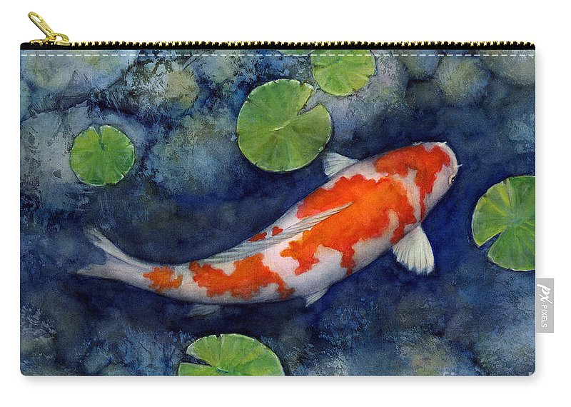 Koi Carry-all Pouch featuring the painting Koi Pond by Hailey E Herrera