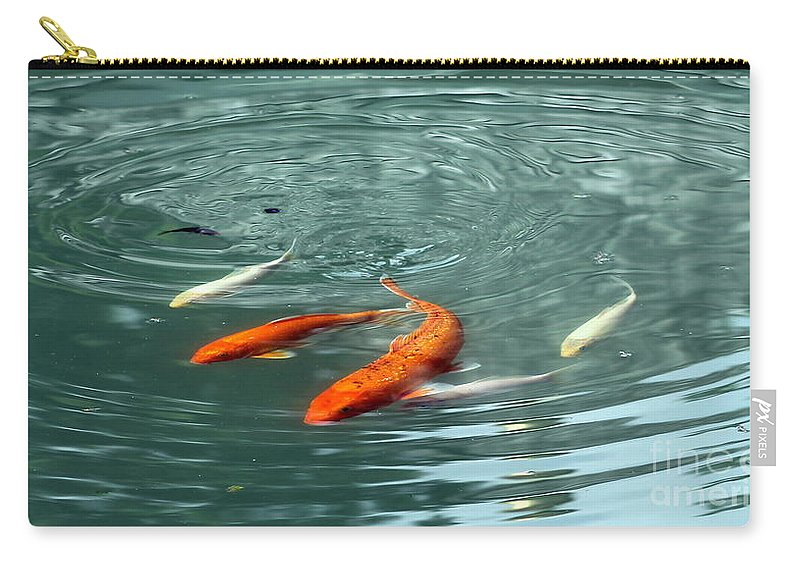 Blue Carry-all Pouch featuring the photograph Koi With Sky Reflection by Renee Croushore