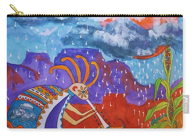 Kokopelli Carry-all Pouch featuring the painting Kokopelli Bringing The Rains by Ellen Levinson