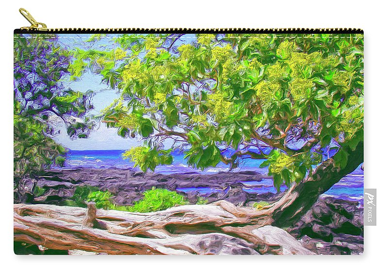 Hawaii Carry-all Pouch featuring the painting Kona Coast by Dominic Piperata
