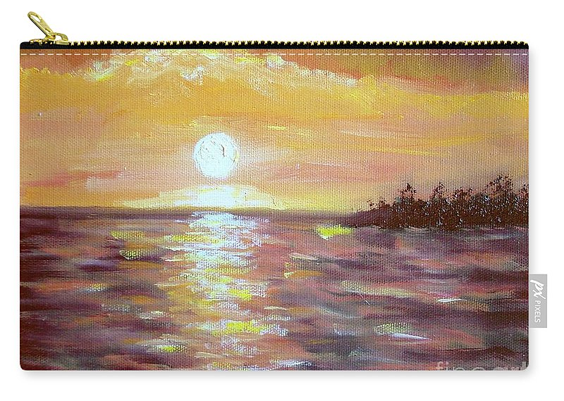 Sunset Carry-all Pouch featuring the painting Kona Sunset by Laurie Morgan