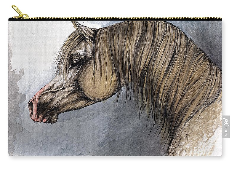Horse Carry-all Pouch featuring the painting Kordelas by Angel Ciesniarska