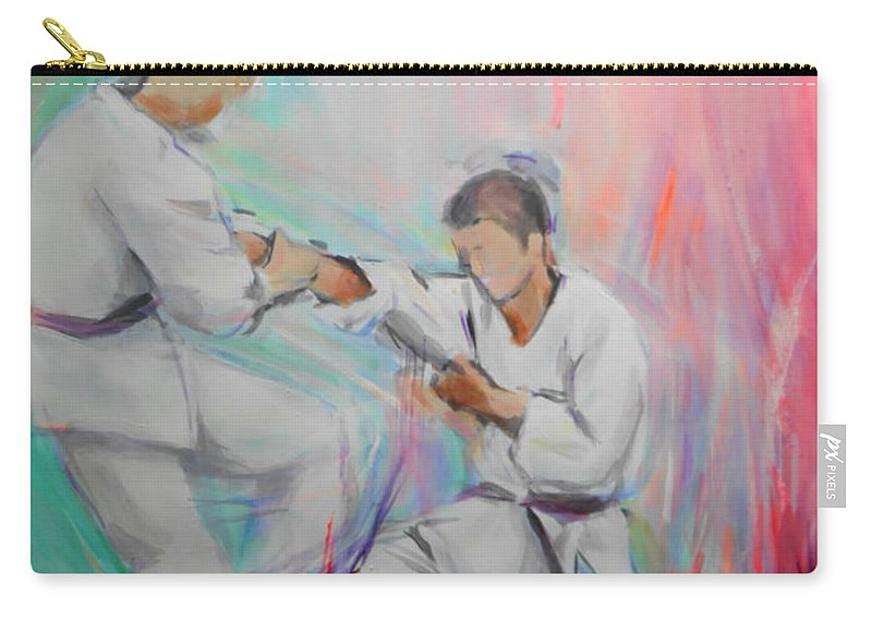 Kumite Carry-all Pouch featuring the painting Kumite by Lucia Hoogervorst