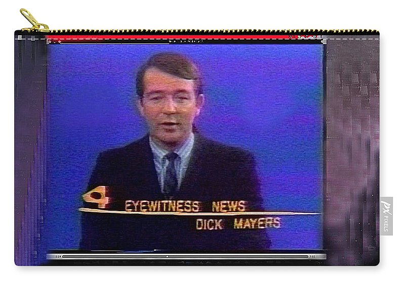 Kvoa Tv Anchorman Interviewer Writer Photographer Art Collector Dick Mayers Screen Capture Collage Circa 1965-2011 Carry-all Pouch featuring the photograph Kvoa Tv Anchorman Interviewer Writer Photographer Dick Mayers Screen Capture Collage Circa 1965-2011 by David Lee Guss