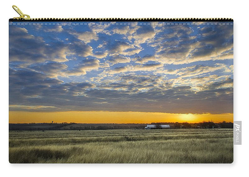 Clouds Carry-all Pouch featuring the photograph Kyle Barn Sunrise by Sean Wray
