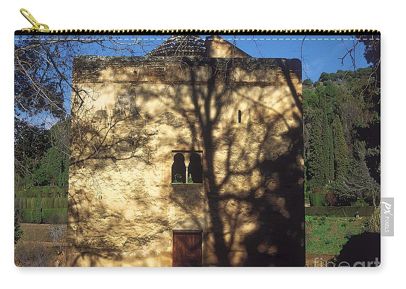 The Alhambra Carry-all Pouch featuring the photograph La Alhambra Infantas Tower by Guido Montanes Castillo