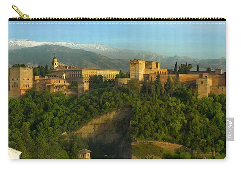 The Alhambra Carry-all Pouch featuring the photograph La Alhambra Palace by Guido Montanes Castillo