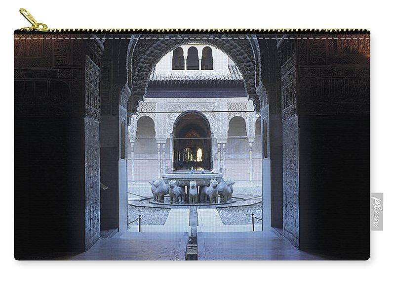The Alhambra Carry-all Pouch featuring the photograph La Alhambra Patio De Los Leones by Guido Montanes Castillo