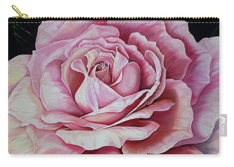 Rose Painting Pink Rose Painting  Floral Painting Flower Painting Botanical Painting Greeting Card Painting Carry-all Pouch featuring the painting La Bella Rosa by Karin Dawn Kelshall- Best