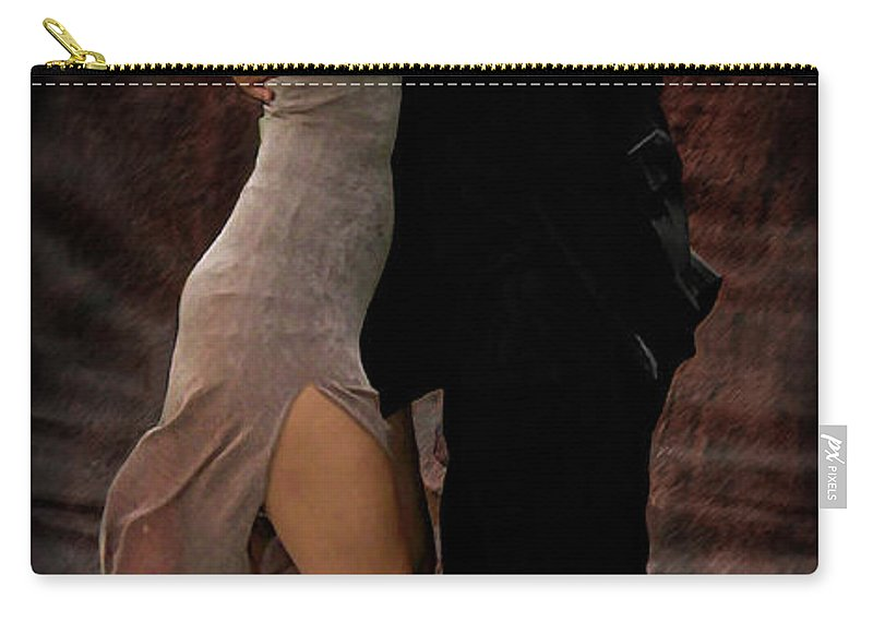 Aires Carry-all Pouch featuring the digital art La Boca Tango by Joan Minchak