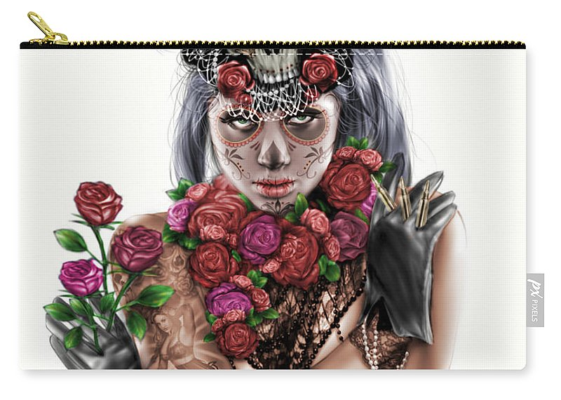 Pete Carry-all Pouch featuring the painting La Calavera Catrina by Pete Tapang