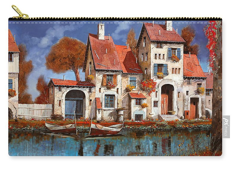 Little Village Carry-all Pouch featuring the painting La Cascina Sul Lago by Guido Borelli