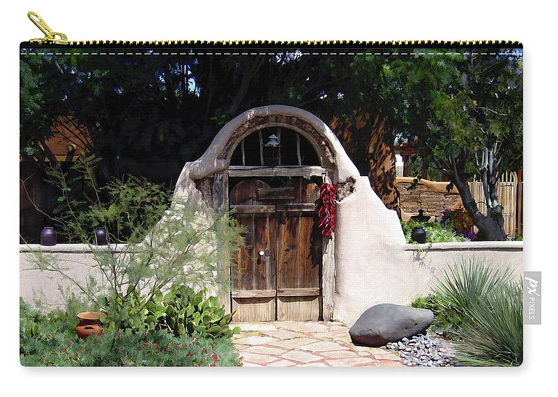 Doors Carry-all Pouch featuring the photograph La Entrada A La Casa Vieja De Mesilla by Kurt Van Wagner