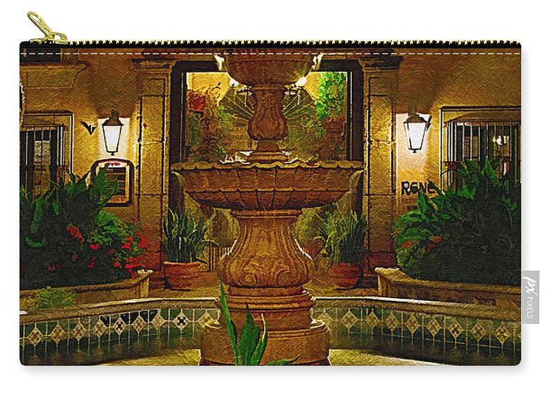 Fountain Carry-all Pouch featuring the photograph La Fuente At Tlaquepaque by Priscilla Burgers