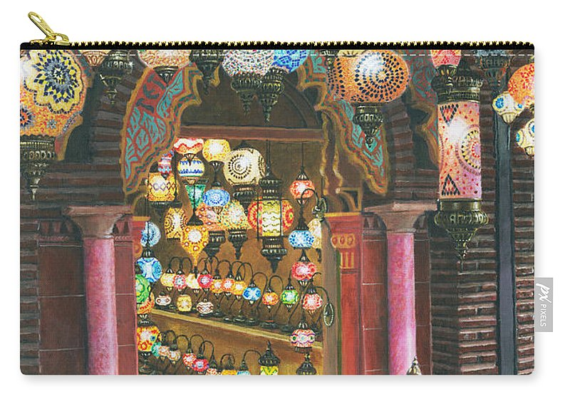 Landscape Carry-all Pouch featuring the painting La Lampareria Albacin Granada by Richard Harpum