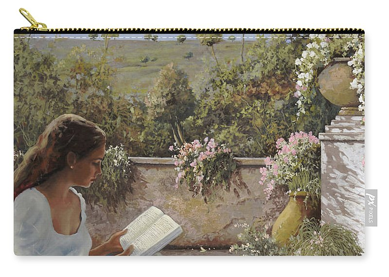 Read Carry-all Pouch featuring the painting La Lettura All'ombra by Guido Borelli