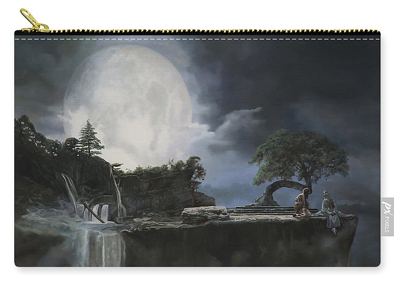 Moon Carry-all Pouch featuring the painting La Luna Bianca by Guido Borelli