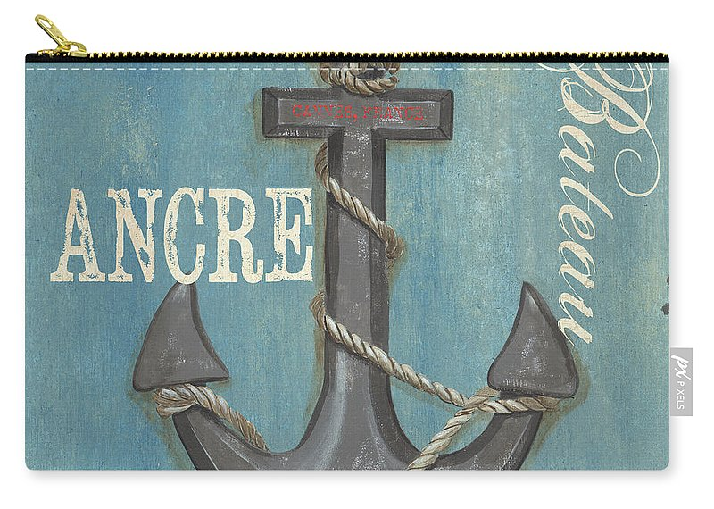 Coastal Carry-all Pouch featuring the painting La Mer Ancre by Debbie DeWitt