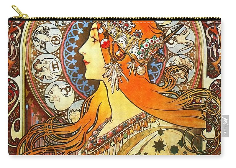 Alphonse Mucha Carry-all Pouch featuring the painting La Plume Zodiac by Alphonse Mucha