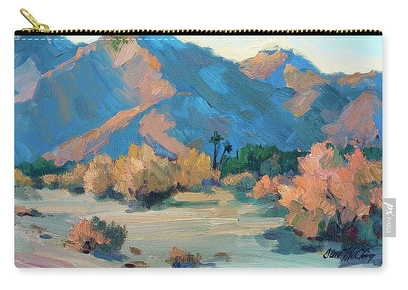 La Quinta Cove Carry-all Pouch featuring the painting La Quinta Cove - Highway 52 by Diane McClary