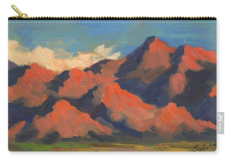 La Quinta Mountains Morning Carry-all Pouch featuring the painting La Quinta Mountains Morning by Diane McClary
