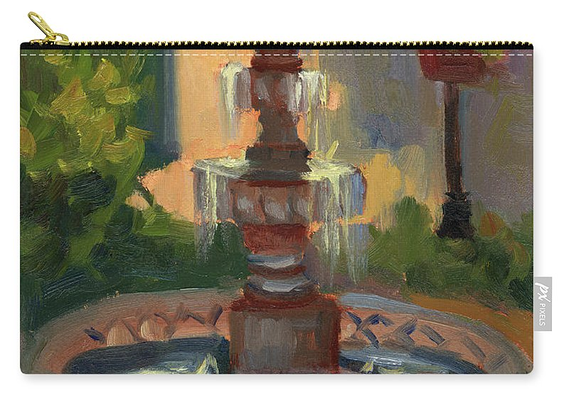 La Quinta Resort Fountain Carry-all Pouch featuring the painting La Quinta Resort Fountain by Diane McClary