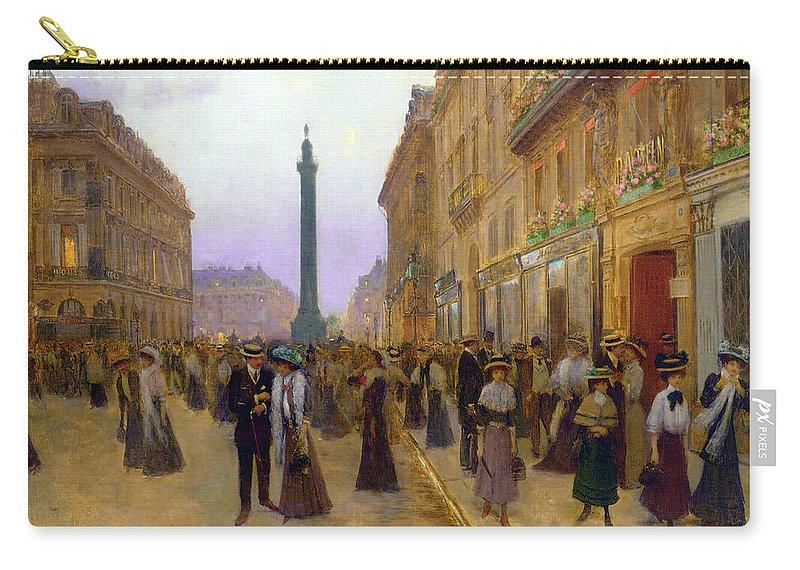Albert Bierstadt Carry-all Pouch featuring the digital art La Rue De La Paix by Jean Beraud