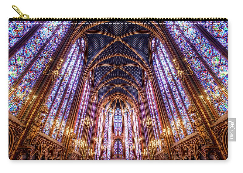 Arch Carry-all Pouch featuring the photograph La Sainte-chapelle Upper Chapel, Paris by Joe Daniel Price