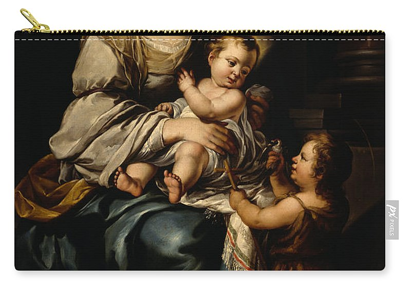 St Carry-all Pouch featuring the painting La Serrana Or, Madonna And Child by Bartolome Esteban Murillo