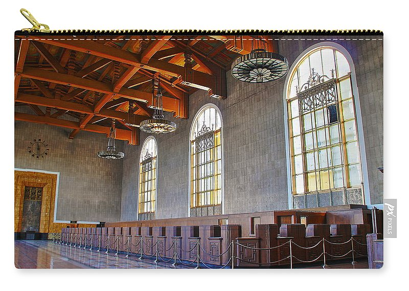 Los Angeles Union Station Carry-all Pouch featuring the photograph Los Angeles Union Station At Its 75th Anniversary by Richard Cheski