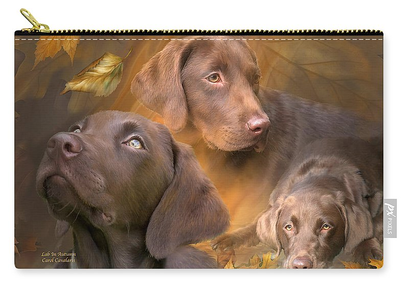 Labrador Retriever Carry-all Pouch featuring the mixed media Lab In Autumn by Carol Cavalaris