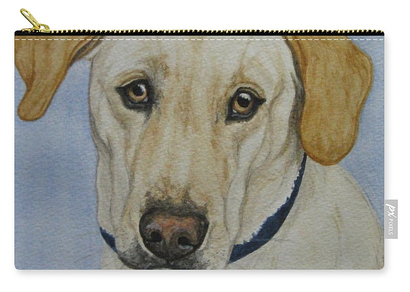 Dog Carry-all Pouch featuring the painting Lab by Megan Cohen