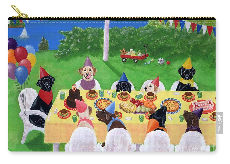 Labrador Retriever Painting Carry-all Pouch featuring the painting Labrador Party by Naomi Ochiai