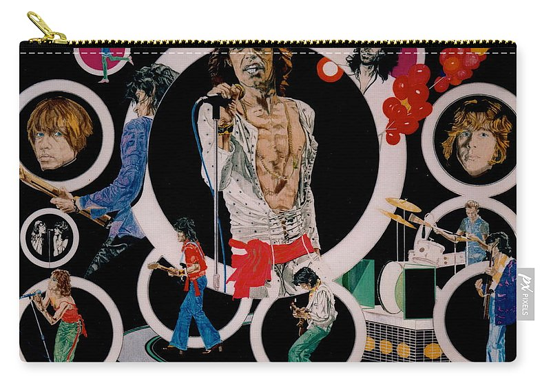 Mick Jagger;keith Richards;brian Jones;charlie Watts;bill Wyman;rock & Roll;music;guitars;water Carry-all Pouch featuring the drawing Ladies And Gentlemen - The Rolling Stones by Sean Connolly