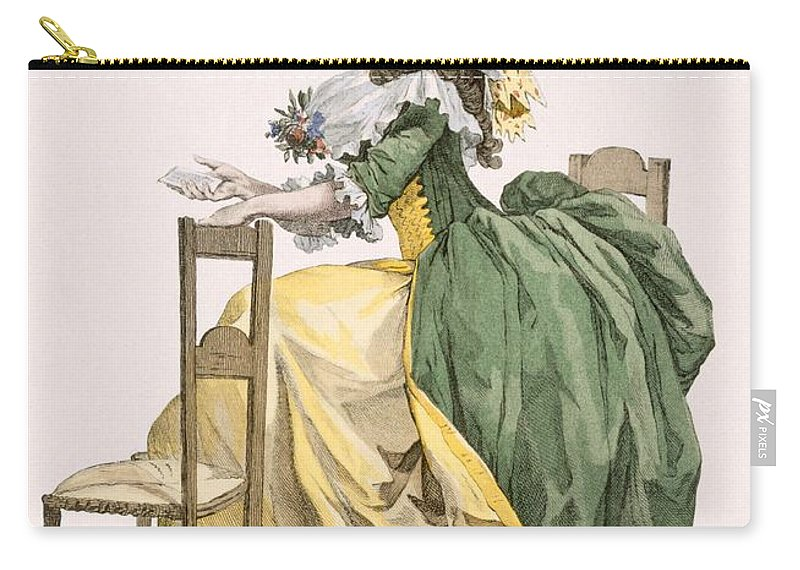 Carry-all Pouch featuring the drawing Ladies Elaborate Gown, Engraved by Francois Louis Joseph Watteau