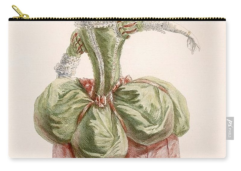 Carry-all Pouch featuring the drawing Ladies Evening Gown, Engraved By Dupin by Pierre Thomas Le Clerc