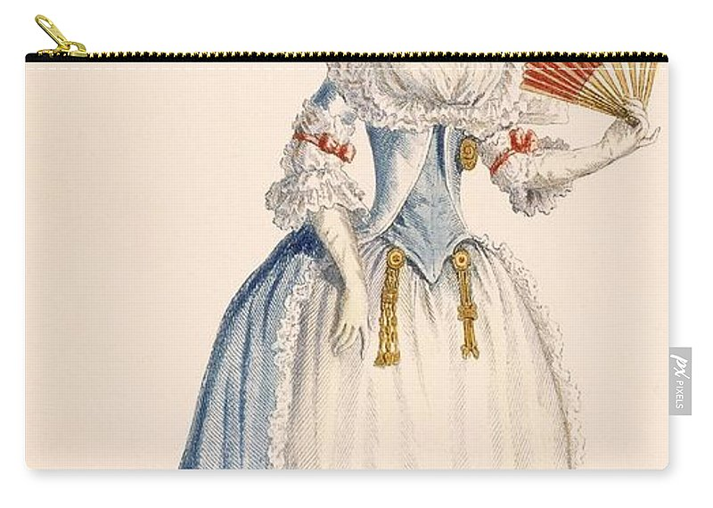 Clothing Carry-all Pouch featuring the drawing Ladies Turkish Style Evening Dress by Claude Louis Desrais