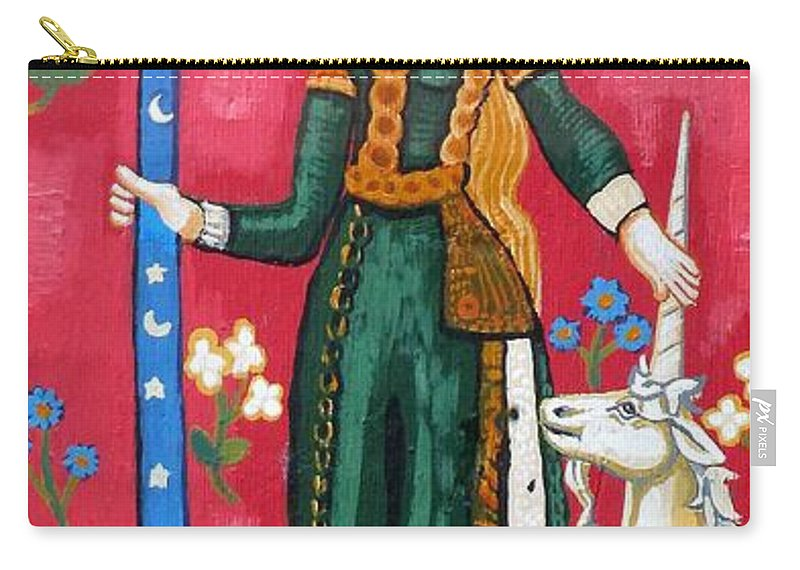 Unicorn Tapestries Carry-all Pouch featuring the painting Lady And The Unicorn La Pointe by Genevieve Esson