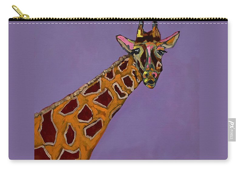 Giraffe Carry-all Pouch featuring the painting Lady G by Randine Dodson
